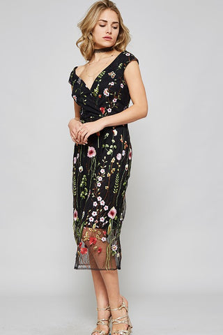 Summer Embroidery Cocktail Knee Length Floral Black Dress