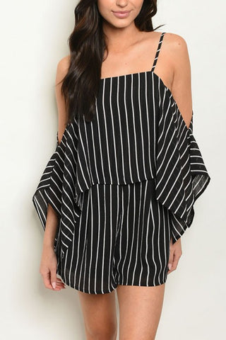 Fashion Strap Black Contrast Cold Shoulder Ruffle Romper