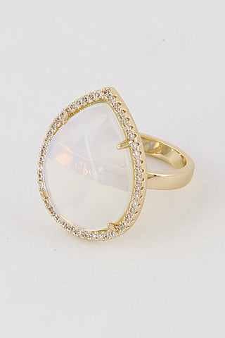Fashion Large Crystal Gold Ring