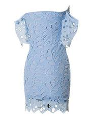 Off Shoulder Light Blue Lace Bodycon Dress