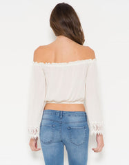 Off The Shoulder White Blouse with Lace Trim