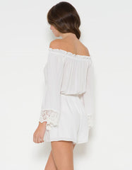 Off The Shoulder Romper With Lace Detail