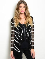 Open Knitted Contrast Cardigan