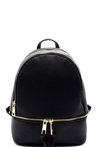 Fashion Elegant Black Backpack with Bottom Zipper
