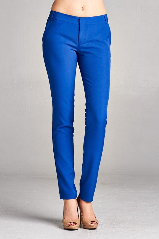 Elegant Fitted Blue Pants