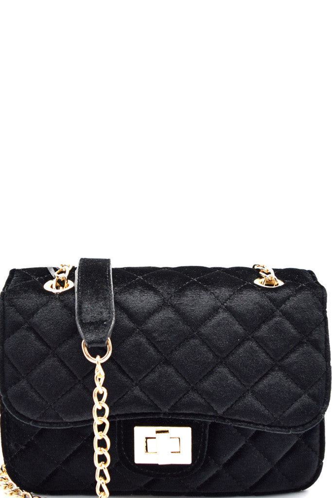 Fashion Black Velvet Clutch with Quilted Detail