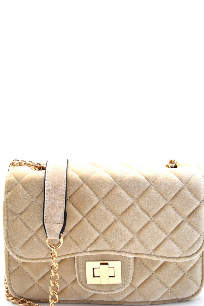 Fashion Beige Velvet Clutch with Quilted Detail