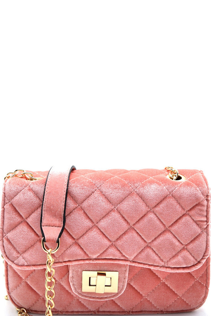 Fashion Pink Velvet Clutch with Quilted Detail