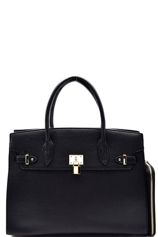 Elegant Black Padlock Top Handle Large Tote Bag Set