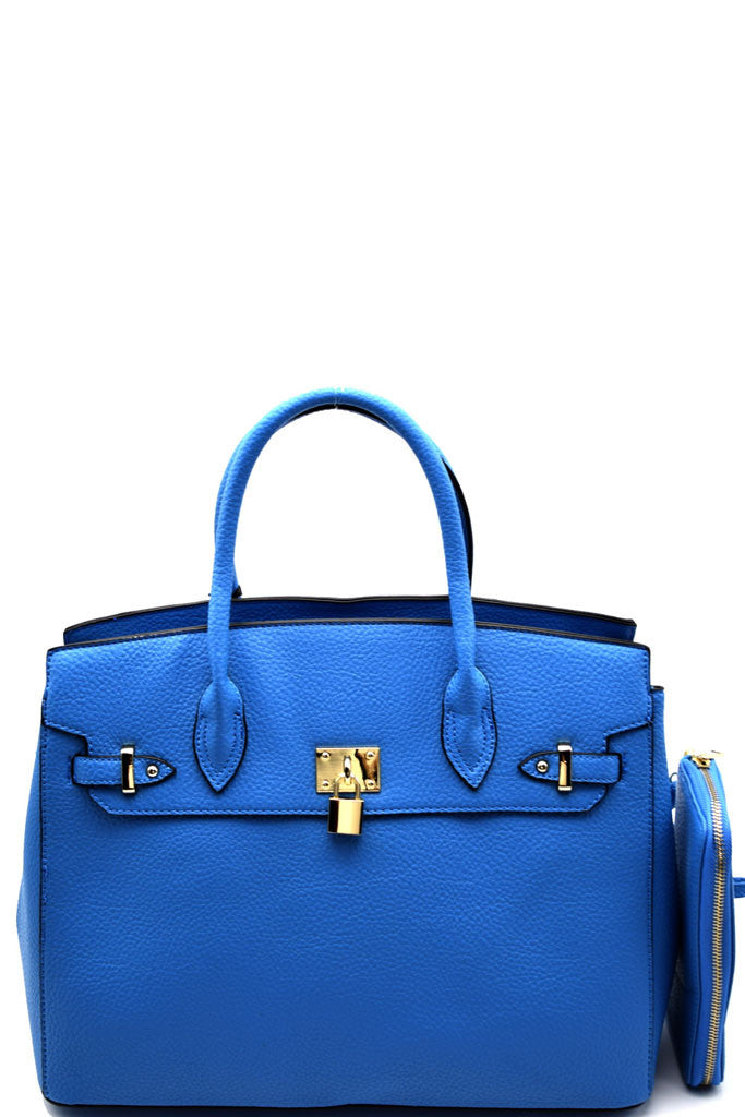 Elegant Blue Padlock Top Handle Large Tote Bag Set