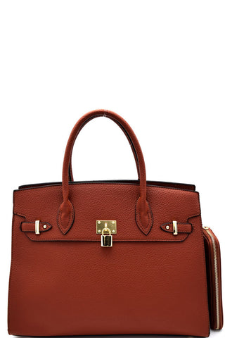 Elegant Brown Padlock Top Handle Large Tote Bag Set