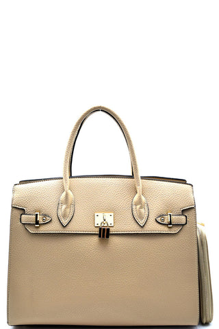 Elegant Beige Padlock Top Handle Large Tote Bag Set