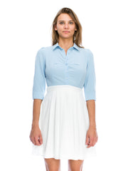 Pastel Light Blue White Shirt Dress