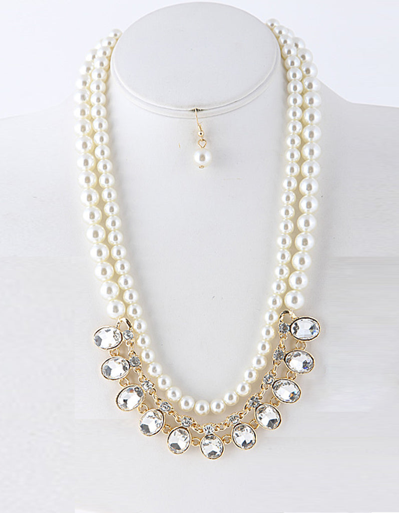 Pearl Oval Rhinestone Statement Necklace