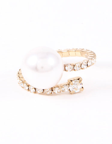 Pearl Spiral Adjustable Ring