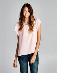 Pink Blouse with Pearl Neckline