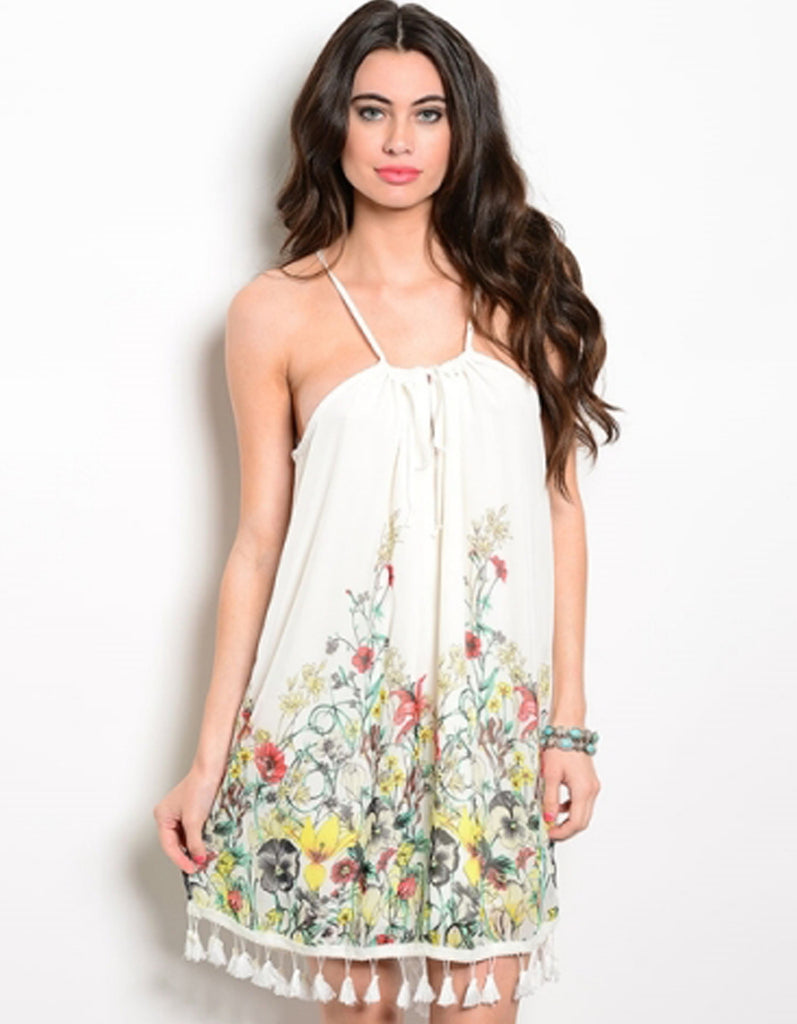 Pom Pom Edge Floral Dress