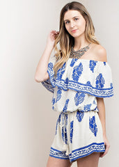Casual Off Shoulder Ivory Romper with Blue Print