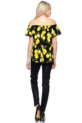 Fashion Summer Off Shoulder Black Lemon Print Top