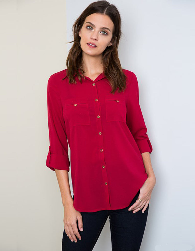 Red Elegant Blouse with Gold Button