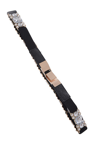 Fashion Rhinestone Clip On Black Belt