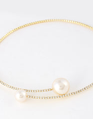 Rhinestone Pearl Choker Necklace