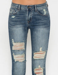 Ripped Skinny Jean with Dark Blue Wash