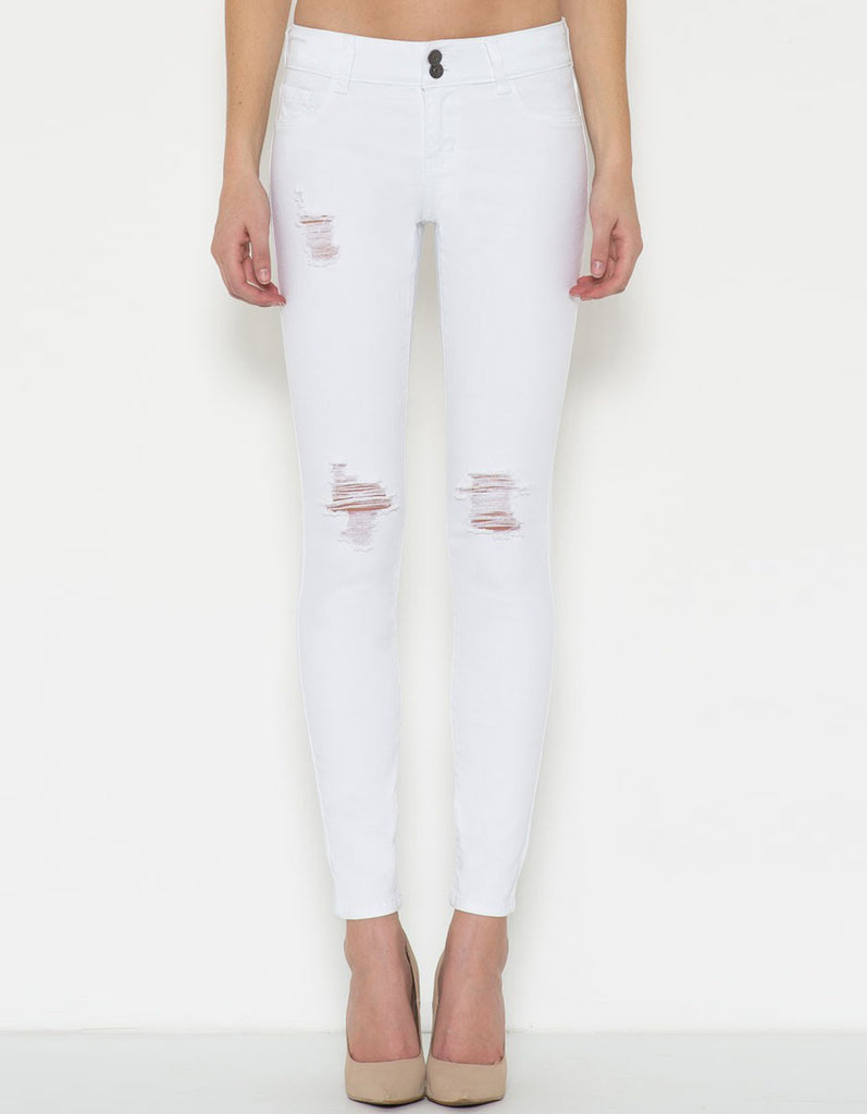Ripped Skinny White Jean