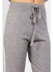Fashion White Side Striped Detailed Jogging Grey Pants