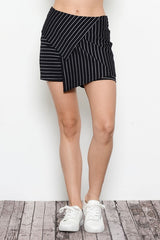 Elegant Asymmetric Stripe Black Shorts