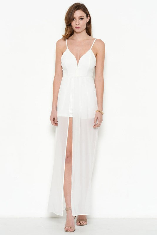Fashion White Ponti Verona Maxi Romper