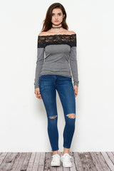 Fashion Off Shoulder Lace Grey Top