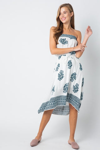 a720669a74ab Casual Strapless White Dress Tie-Up with Blue Floral Print