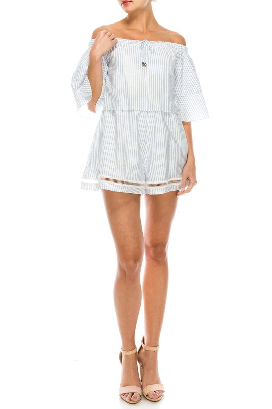 Fashion Marine Off Shoulder Lace Ruffle Romper