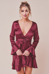 Elegant Wine Satin Tie-Up Ruffle Detailed Dress with Bell Sleeve