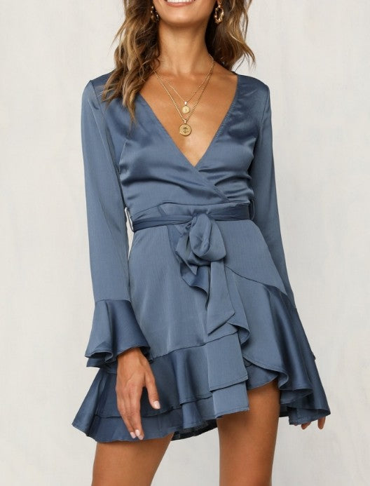Elegant Midnight Blue Satin Tie-Up Ruffle Dress with Bell Sleeve