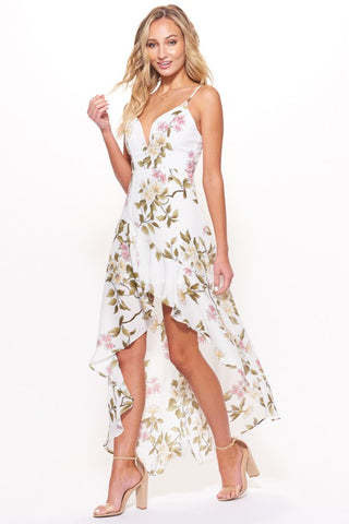 d0d51d14a2 Selfie Leslie. Fashion Strap Multi-Color Floral Print Ruffle High Low White  Maxi Dress