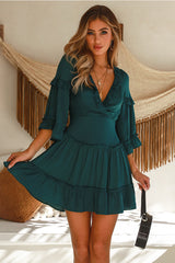 Elegant Forest Green Satin V-Neck Ruffle Dress