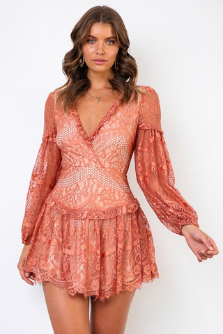 Elegant Rose Lace Floral Detailed V-Neck Ruffle Open Back Dress with Long Sleeve