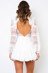 Elegant White Lace Floral Detailed V-Neck Ruffle Open Back Dress with Long Sleeve