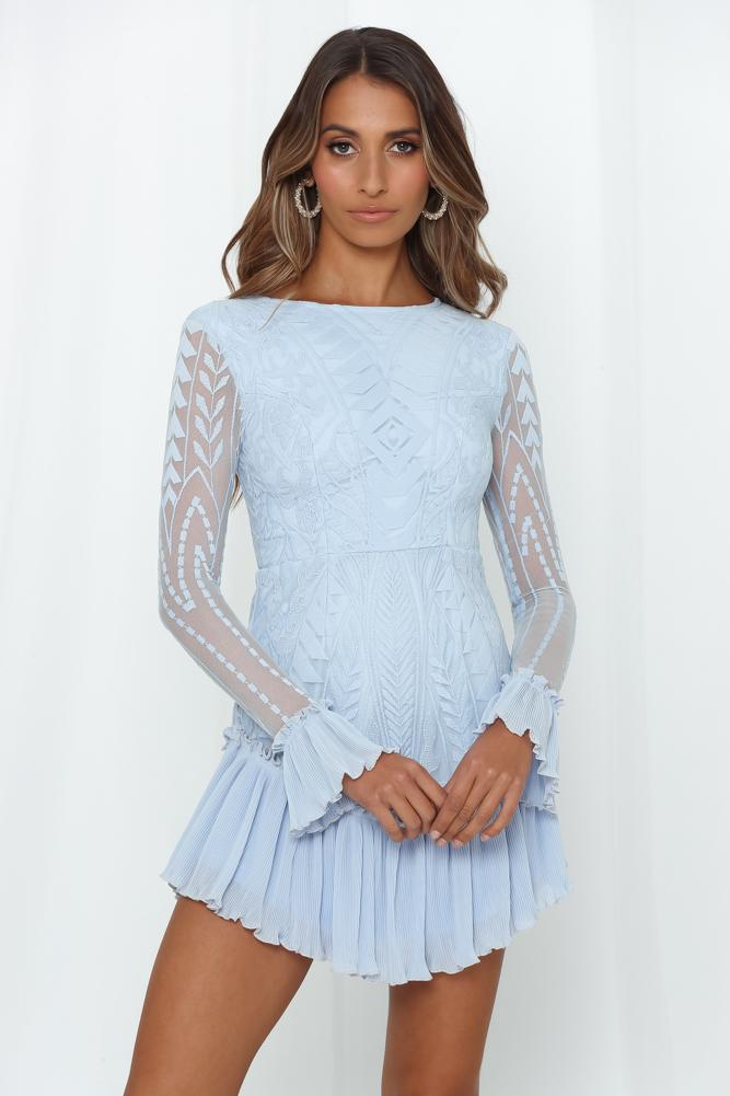 Elegant Steel Blue Floral Lace Ruffle Dress with Long Sleeve