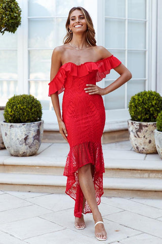 Elegant Off Shoulder Red Floral Lace Ruffle High Low Maxi Dress