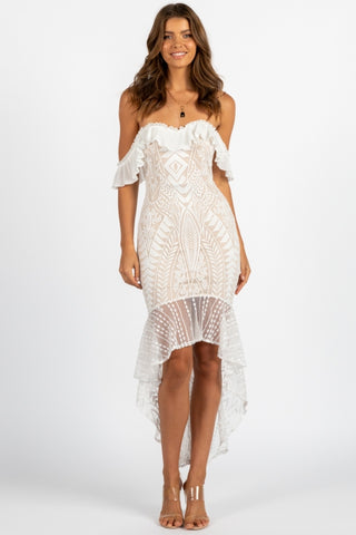 Elegant Off Shoulder White Floral Lace Ruffle High Low Maxi Dress