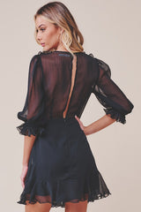 Fashion Black Ruffle Band Detailed Dress