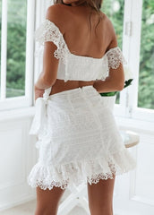Elegant Summer Off Shoulder White Lace Crop Top
