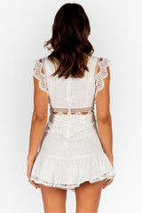 Elegant White Lace Crop Ruffle Dress with Band Sleeve Detailed