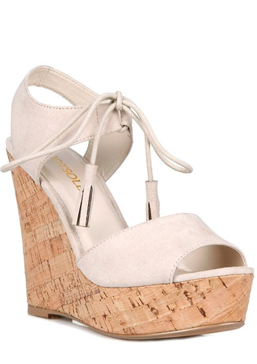 Summer Elegant Beige Wedge with Tassel