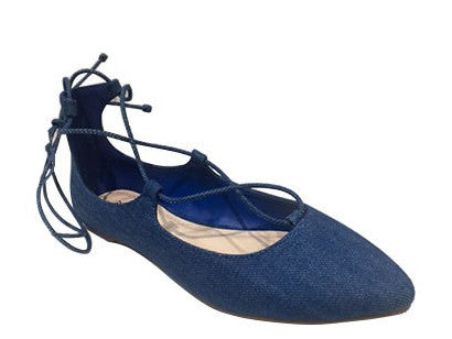 Denim Fashion Lace Up Pointy flat