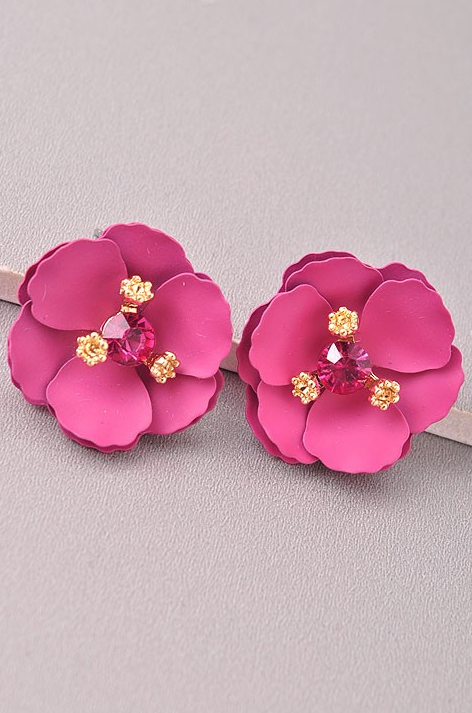Sparkly Fuchsia Camellia Earrings