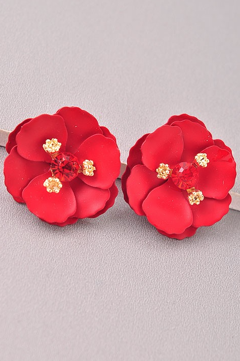 Sparkly Red Camellia Earrings